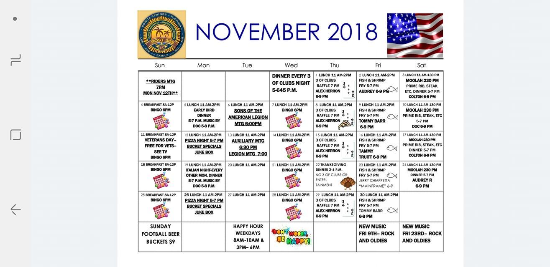 Post 303 Events Calendar 11-18