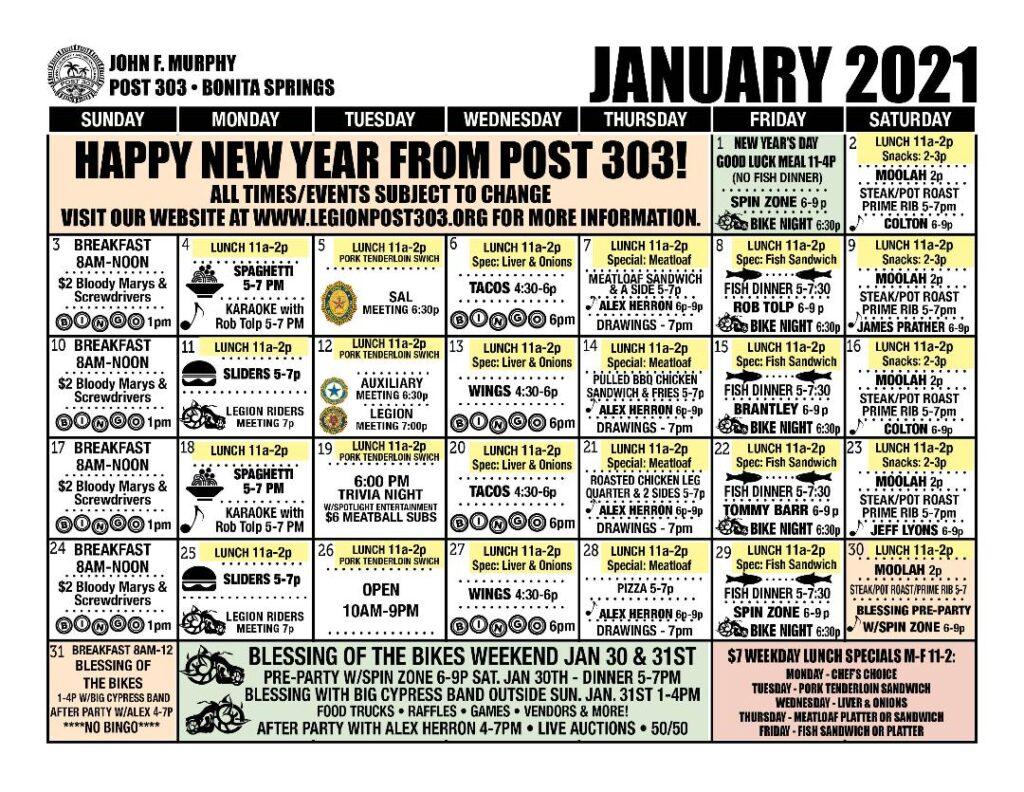 January 2021 Events Calendar